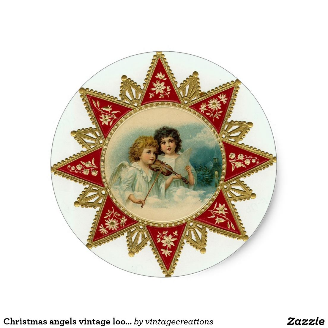 Christmas angels vintage look stickers