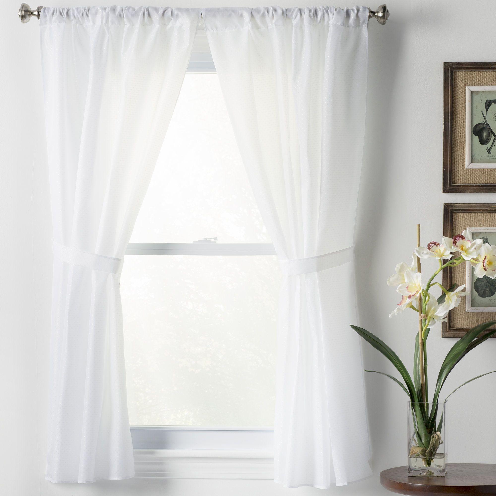 Basics Solid Semi Sheer Rod Pocket Bathroom Curtain Panels Panel