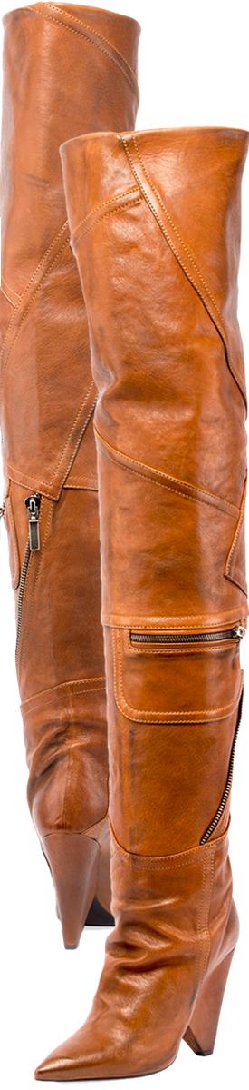 f0aeff0024e Saint Laurent Niki Leather Zip Over-The-Knee Boot.
