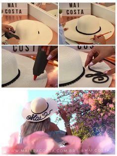 2b90b38ffd5a8 Como fazer chapéu de praia personalizado. Chapéu de praia falante ...