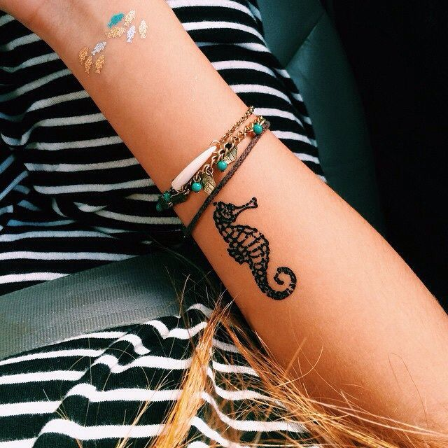 Small Henna Wrist Tattoos Sea Turtle And Lotus Infinity: #seahorse #tattoo #girly #small #tattoos #ink