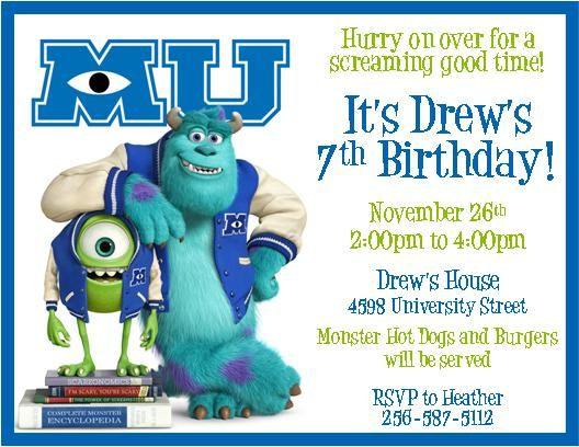 Monsters University Party Invitations Invitations Cumple