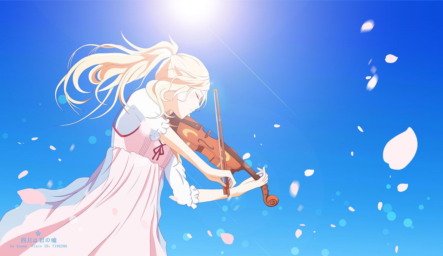 Wallpaper Art Skripka Anime Your Lie In April Yap 四月は君の