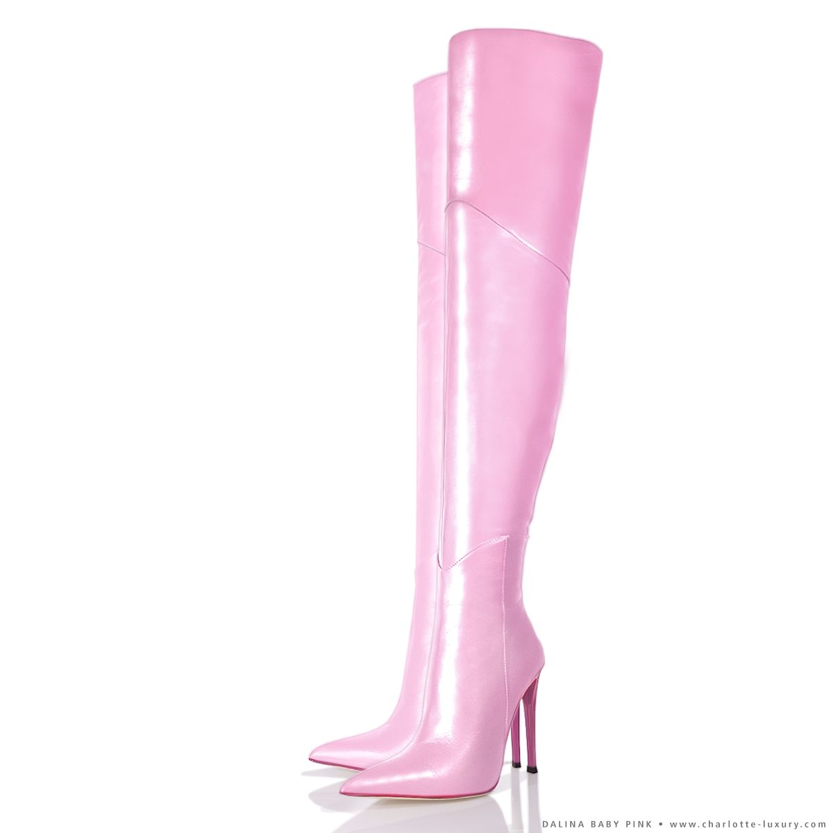 Dalina Baby Pink thigh high boots. Custom made thigh high boots ...