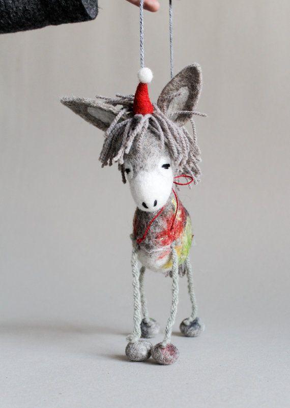 dominick felt christmas donkey art toy by twosaddonkeys on etsy
