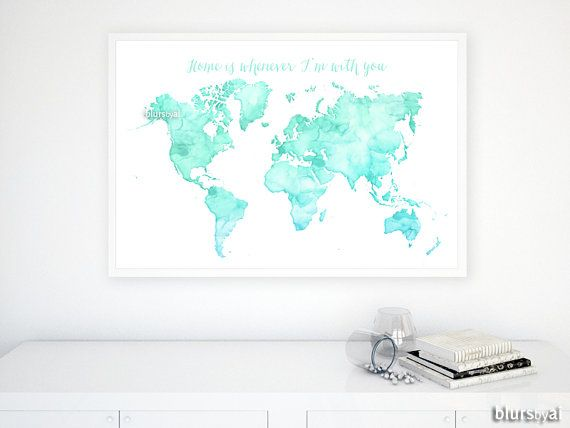 Custom quote color size printable world map watercolor world custom quote color size printable world map by blursbyaishop sciox Gallery