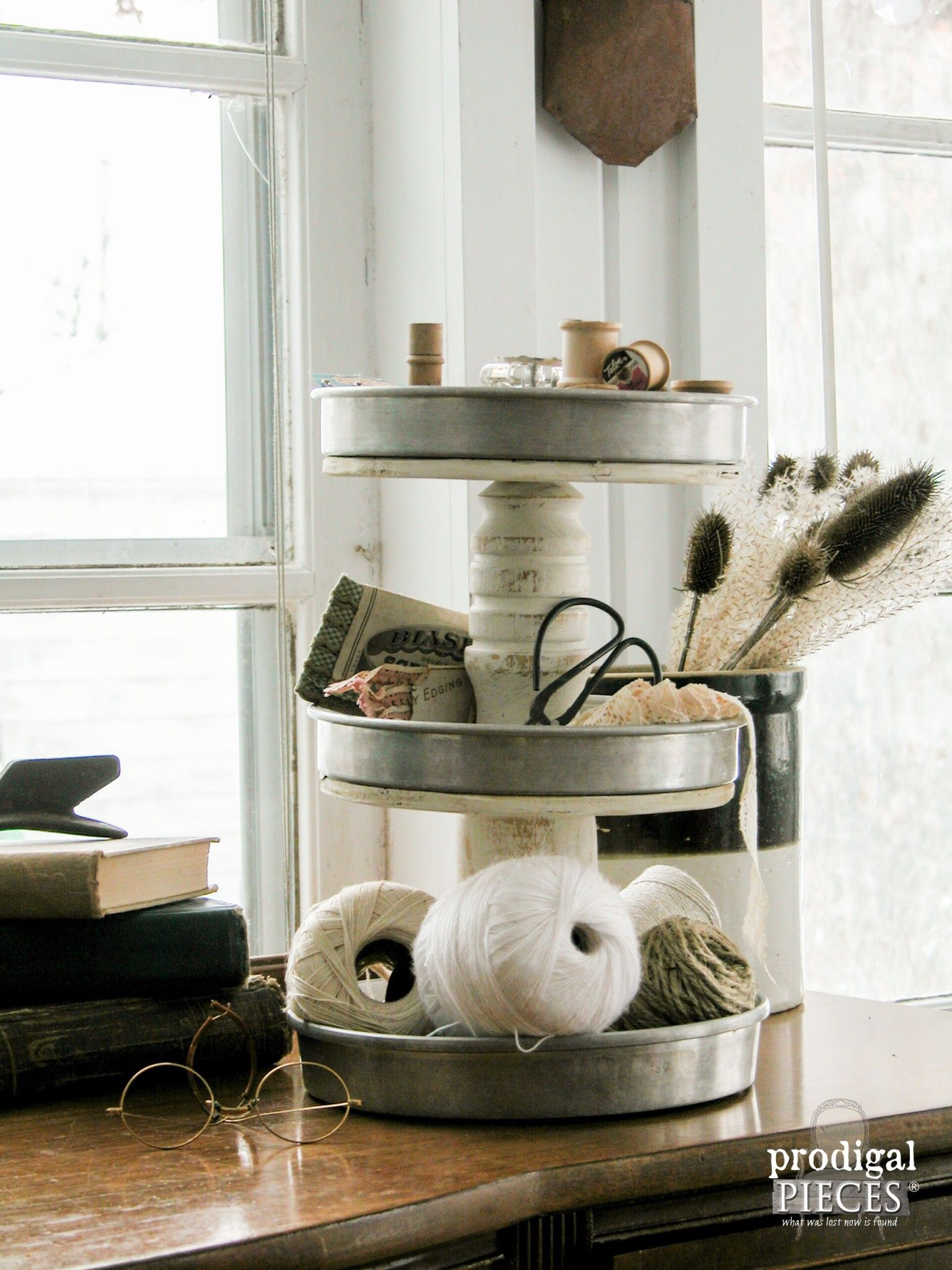 Top 29 Diy Ideas Adding Rustic Farmhouse Feels To Kitchen: DIY Tiered Stand From Repurposed Junk