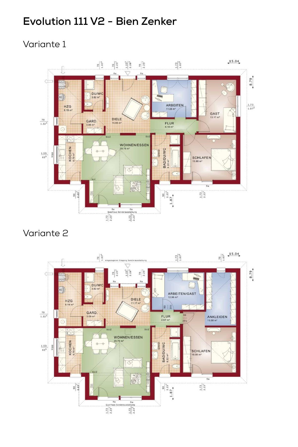 bungalow grundriss varianten mit 3 bis 4 zimmer erdgeschoss modern kuche offen walmdach architektur