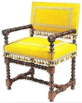 chaise a bras louis xiii accotoirs