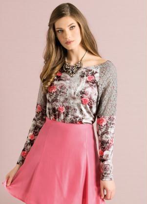 Blusa Floral Raglan com Detalhe de Renda - Quintess