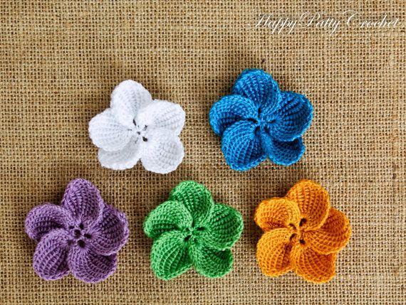 Crochet Flower Applique Crochet Hibiscus by HappyPattyCrochet ...