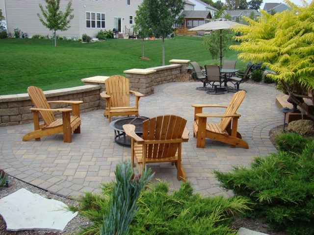Superior Lawn and Landscape, premium lawn service and landscape company  serving the Southwest Twin Cities Metro area - Stone, 2 Sitting Areas, Low Wall; Prefer Permanent Stone Firepit