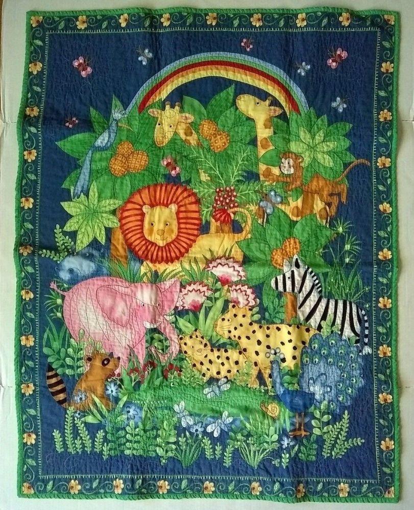 20454d0876641 Baby Nursery Quilt Blue Jungle Rainbow Giraffe Zebra Lion Handmade ...
