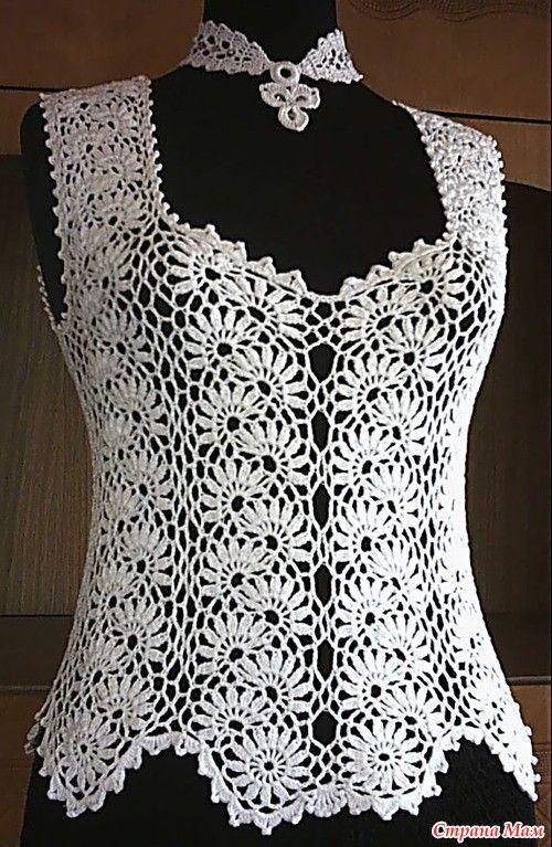 Blusa Blanca Tejida Crochet Blusas Croché Ganchillo Blusas