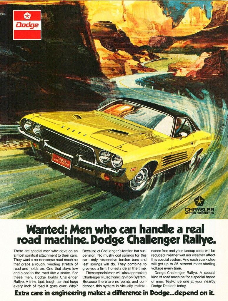 1973 Dodge Challenger Ad Car Advertising Dodge Challenger Dodge