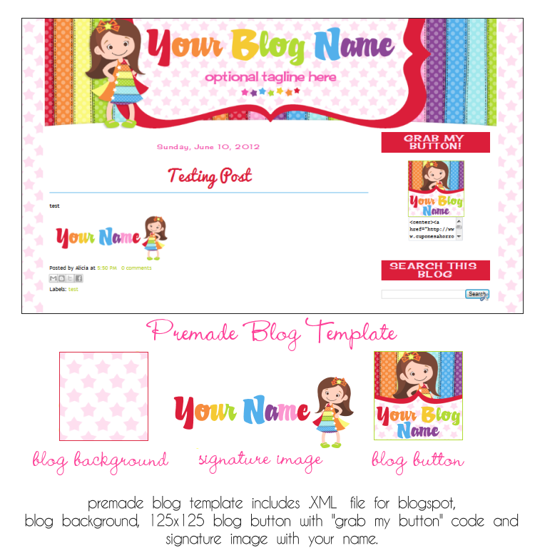 Blog Template- Lil Miss Rainbow Design-blog, blogspot, blog template, blogger, brunette, rainbow, stars, star, girl,