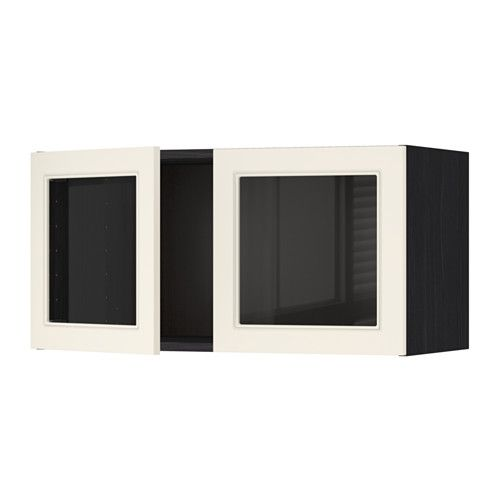 Metod Wall Cabinet With 2 Glass Doors White Hittarp Off White Ikea Wall Cabinet Home Office Furniture Ikea