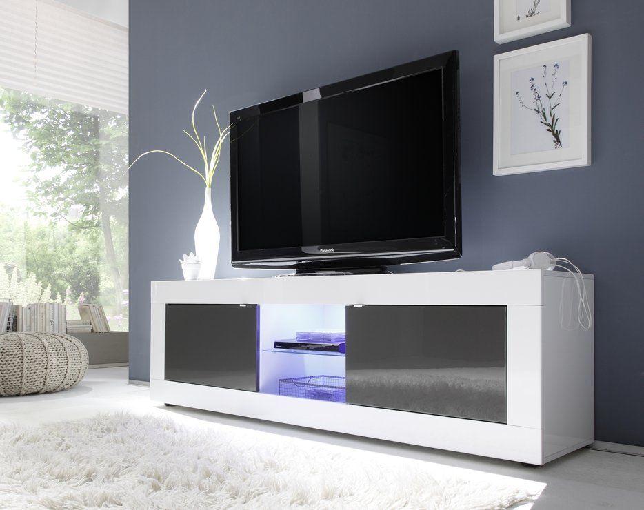 Basic Collection Big TV Unit Including Led Spot Light - Gloss - led spots wohnzimmer