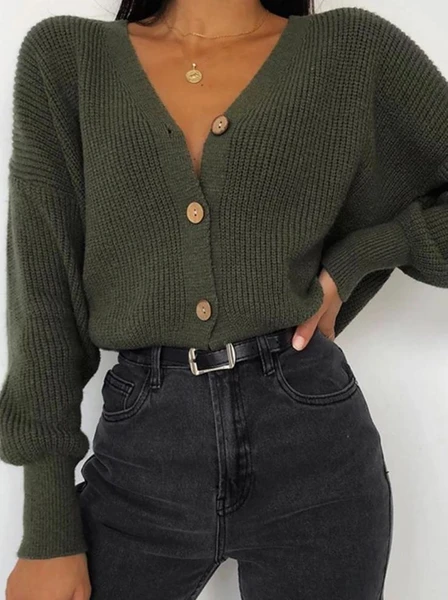 Womens Fashion Pure Color Long-sleeved Knit Top