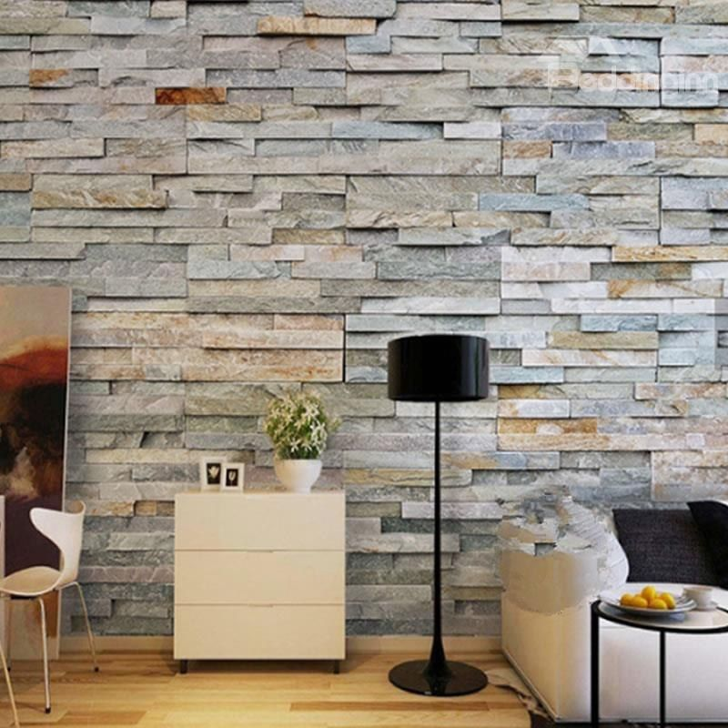 Wonderful 3D Brick Wall Printed Sturdy Waterproof And Eco Friendly Wall Mural