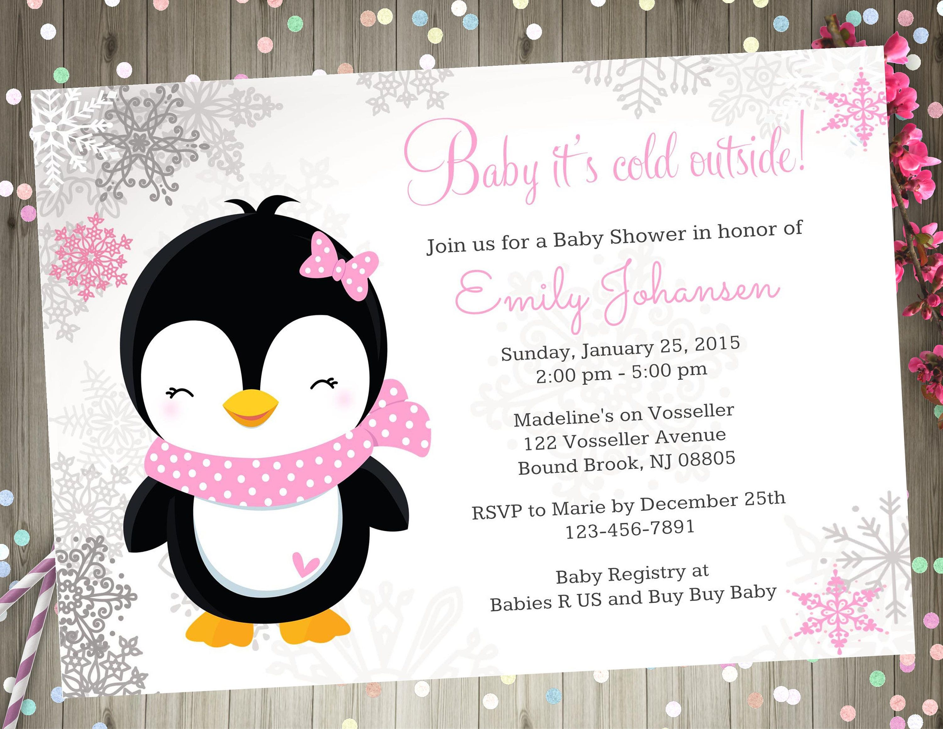 Penguin Baby Shower Invitation Baby it\'s cold outside baby shower ...