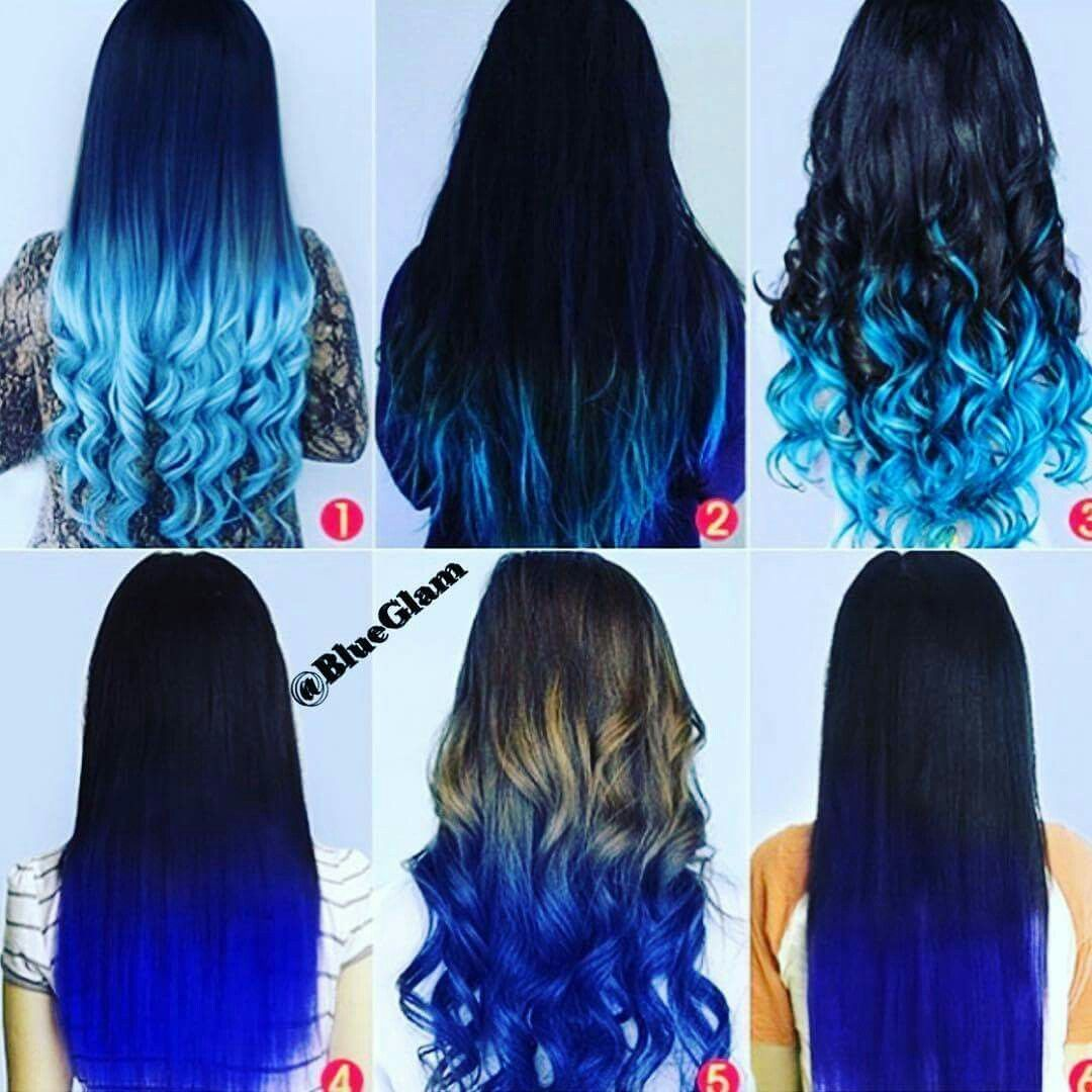 Blue Black Brown Ombre Hair Colorful Scene With Images Blue