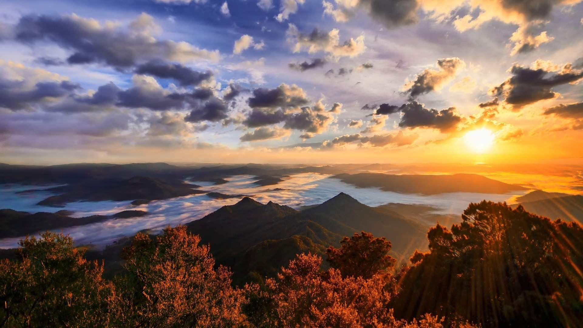 1920x1080 Mountain Sunset Landscape 4k Ultra Hd Wallpaper