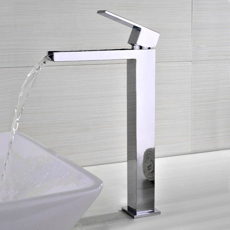 Fiego Modern Chrome Waterfall Single Hole Faucet For Bathroom