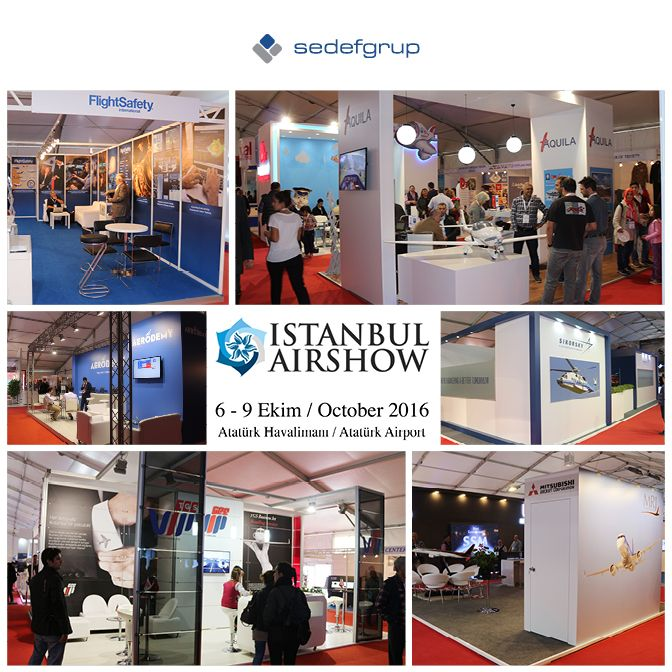 Sedef Grup'un alan kurulumunu ve özel dekor çalışmalarını gerçekleştirdiği İSTANBUL AİRSHOW 2016 6-9 Ekim tarihleri arasında ziyaretçilerini ağırladı.