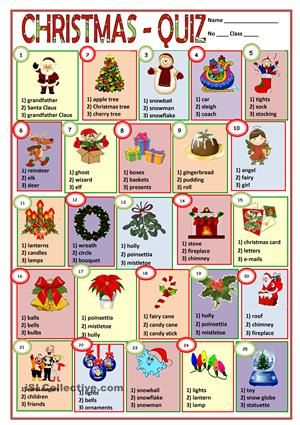 A Multiple Choice Exercise Esl Worksheets Christmas Lesson Christmas Worksheets Christmas Quiz
