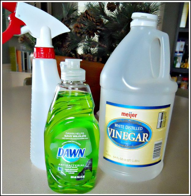Homemade shower cleaner--Tried this one and it works pretty good. Heat up vinegar prior to pouring in squirt bottle
