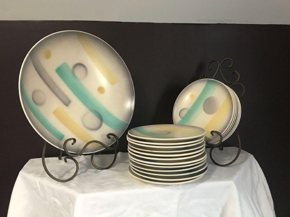 Art Deco Spritzdekor Bauhaus Plates And Serving Bowl & Art Deco Spritzdekor Bauhaus Plates And Serving Bowl   Spritzdekor ...