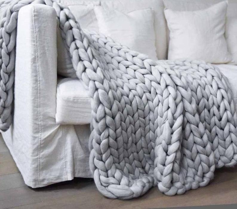 Queen Super Chunky Knit Blanket Merino Wool Queen Blanket Giant Knit Extra Chunky Wool Blanket Bulky Knit Blanket Arm Knit Cozy Chunky Merino Wool Blanket Merino Wool Blanket Fluffy Blankets