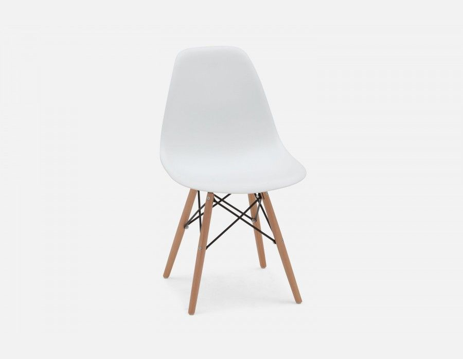 Fabulous Eiffel White Chair With Solid Beech Wood Legs Flyest Dailytribune Chair Design For Home Dailytribuneorg