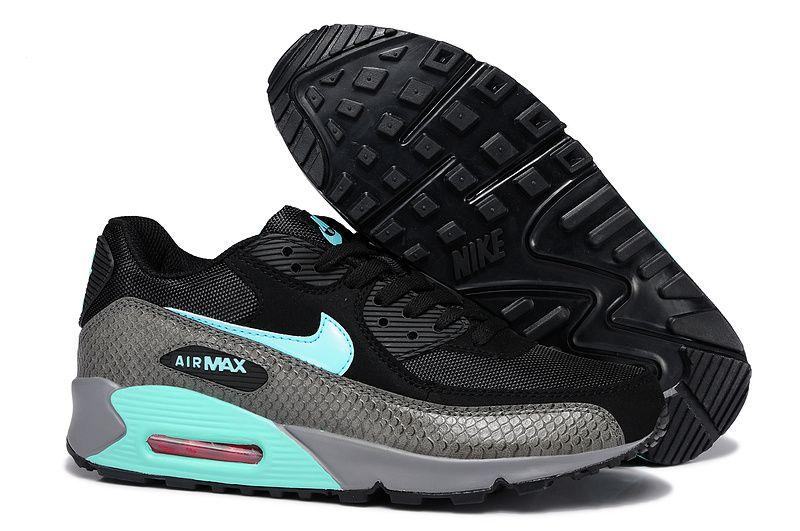 2018 shoes wholesale sales amazon Nike Air Max 90 Womens/Mens Shoes Snake Black Gray Blue [857h46 ...