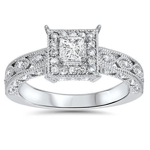 .60CT Princess Cut Vintage Halo Diamond Engagement Ring 14K White Gold