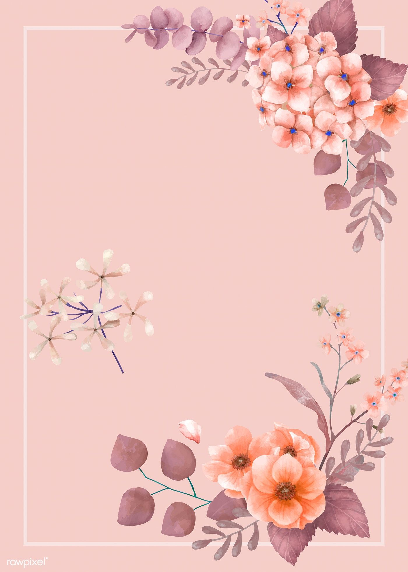 pink themed floral wedding card 466739