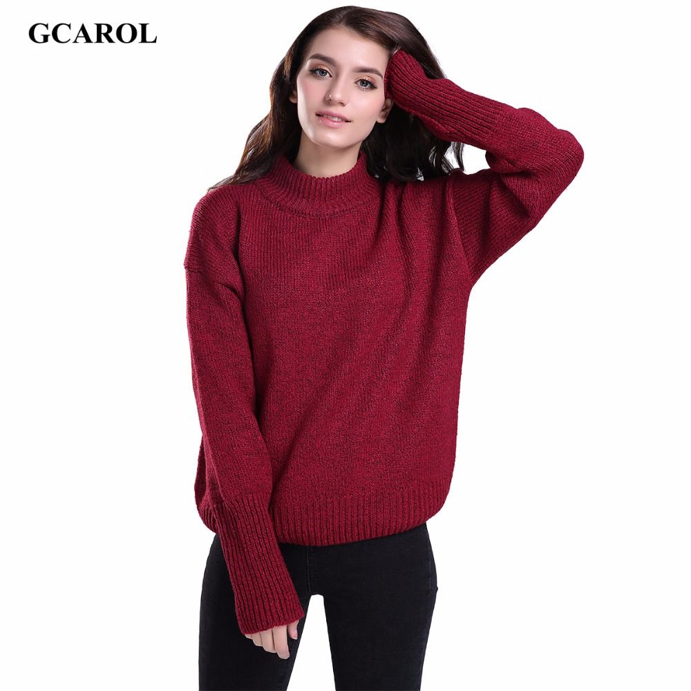 GCAROL Women Standard Collar Basic Sweater Stretch Preppy Style ...