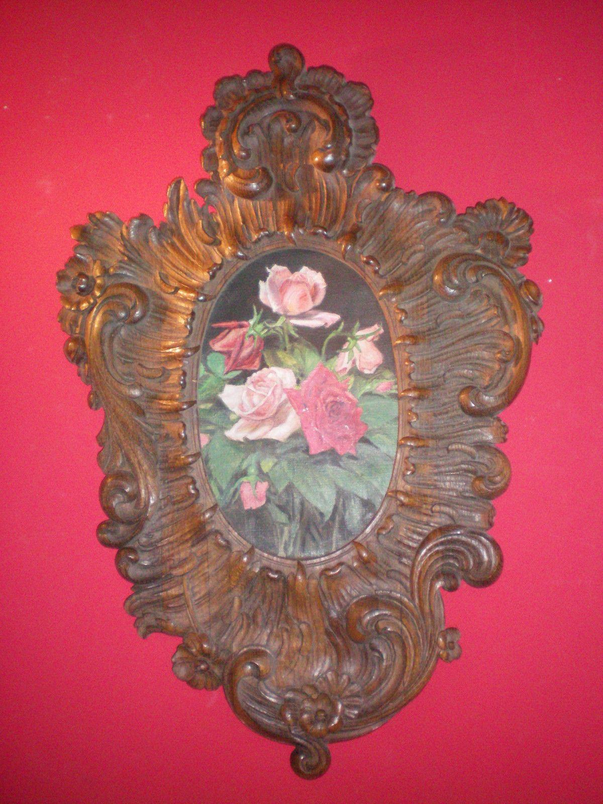 Prunkrahmen Rosen Öl auf Papier 65 x 43 cm Eiche Rahmen Rokoko Bild ...