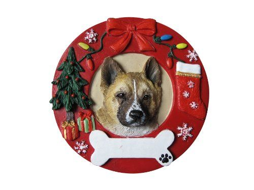 Akita Christmas Ornament Wreath Shaped Easily Personalized Holiday Decoration Unique Akita Lover Gifts -- This is an Amazon Affiliate link. Learn more by visiting the image link.