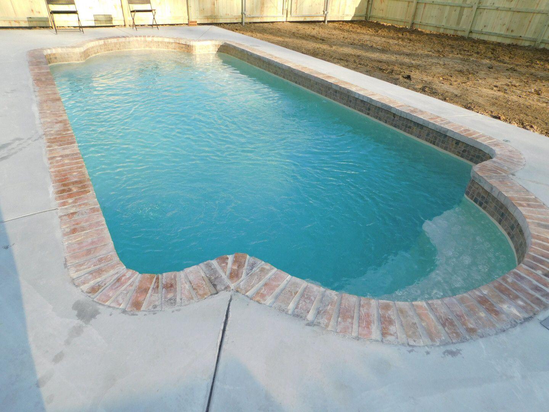 Beautiful Roman Shape Brick Coping Sandstone Color Backyard Pool Pool Renovation Pool Remodel