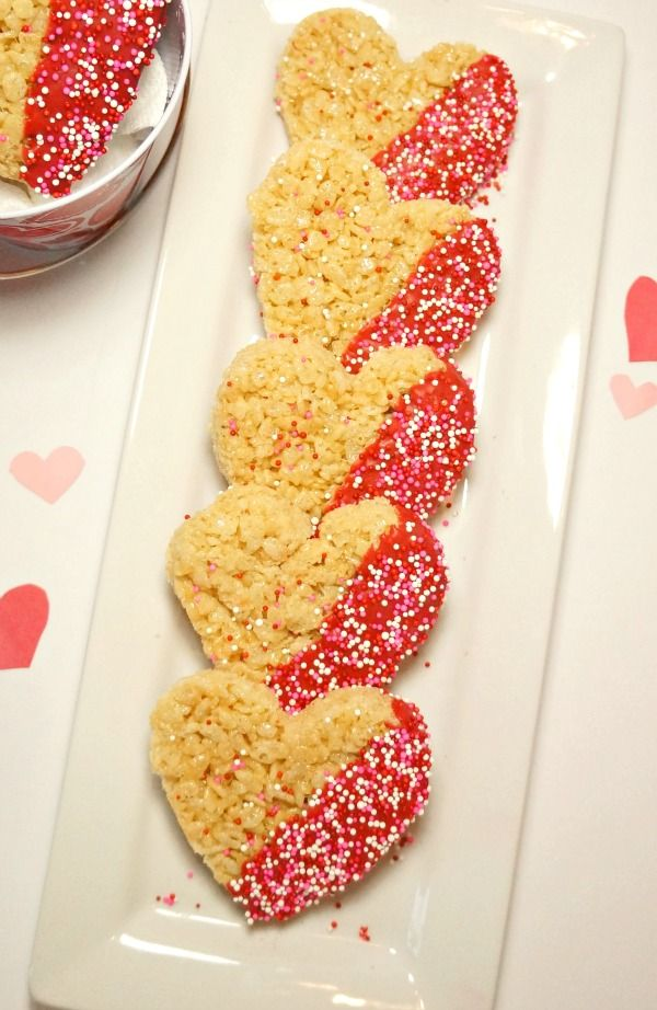 Valentineu0027s Day Treats   Heart Shaped Chocolate Dipped Rice Krispies Treats.  These Are So Cute