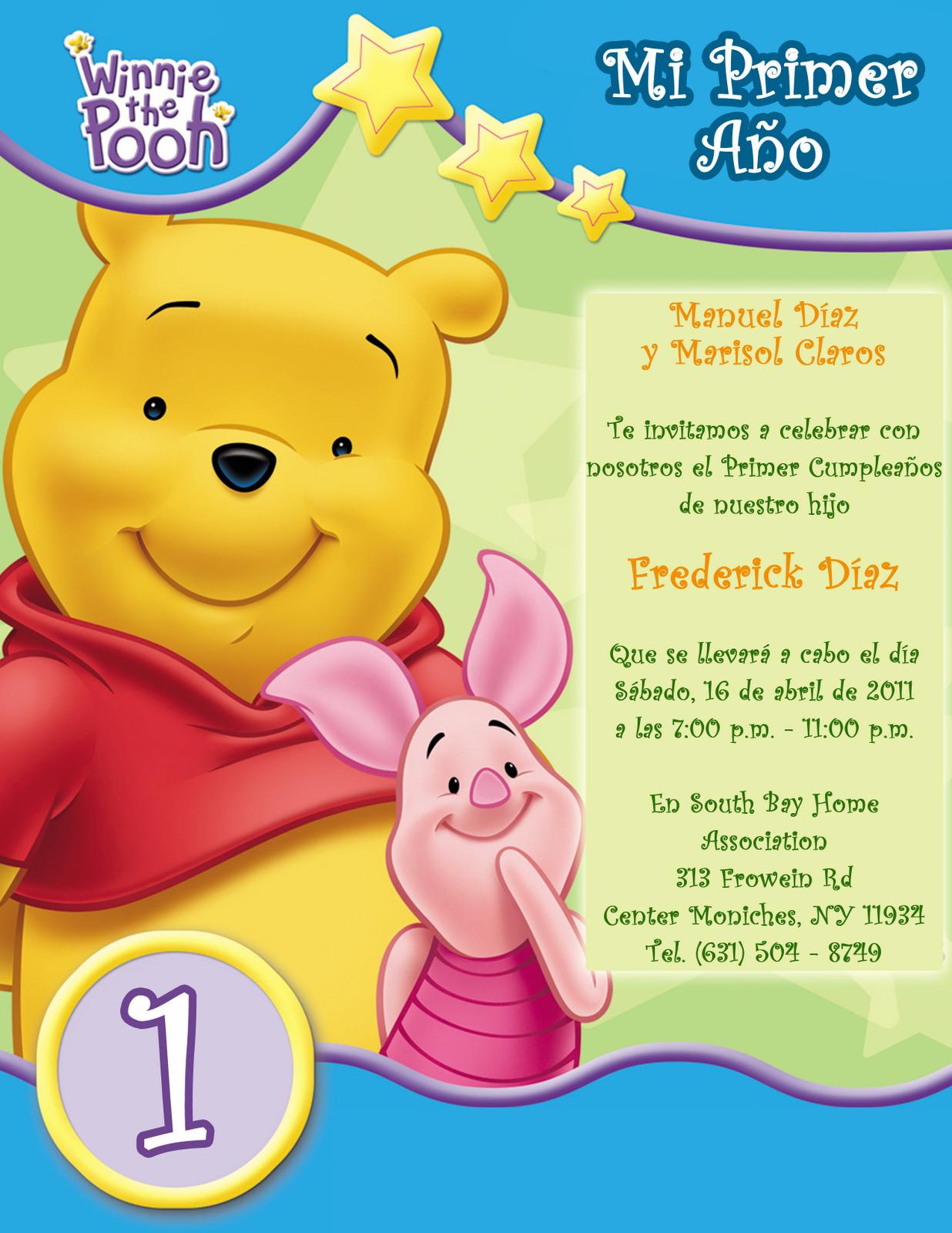 Invitación Infantil de Cumpleaños Winnie the Pooh 1 Año  manualidad Pinterest Birthdays