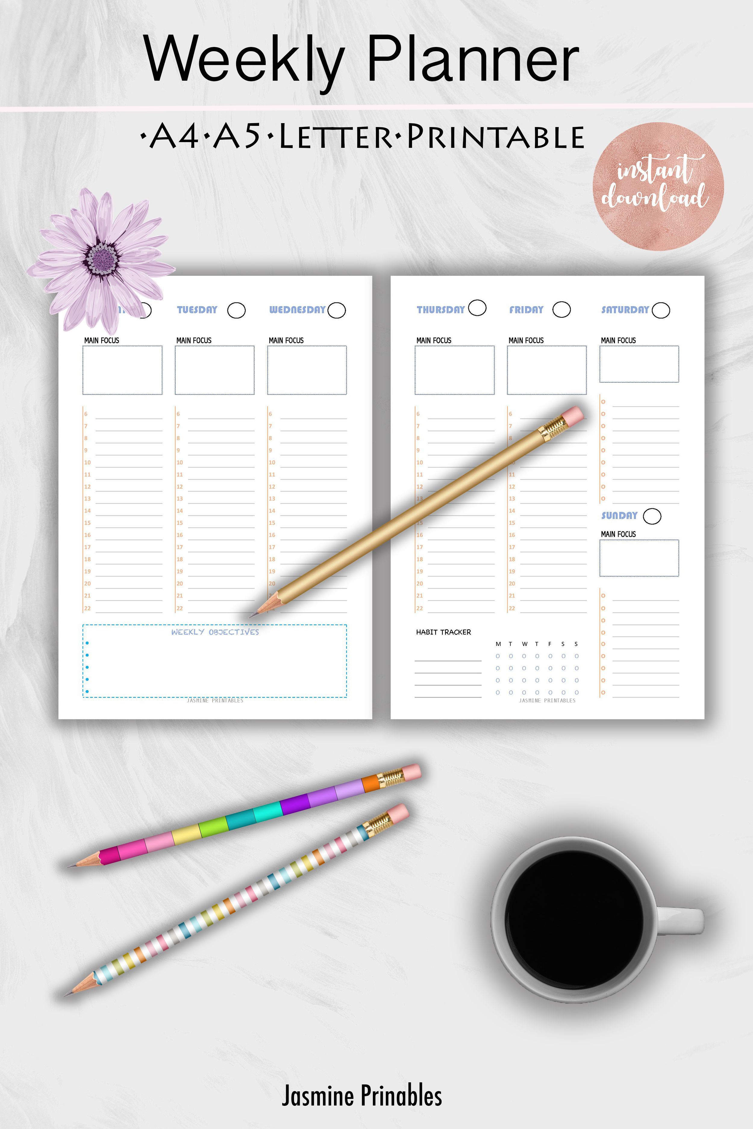 Weekly planner; hourly planner, two page layout