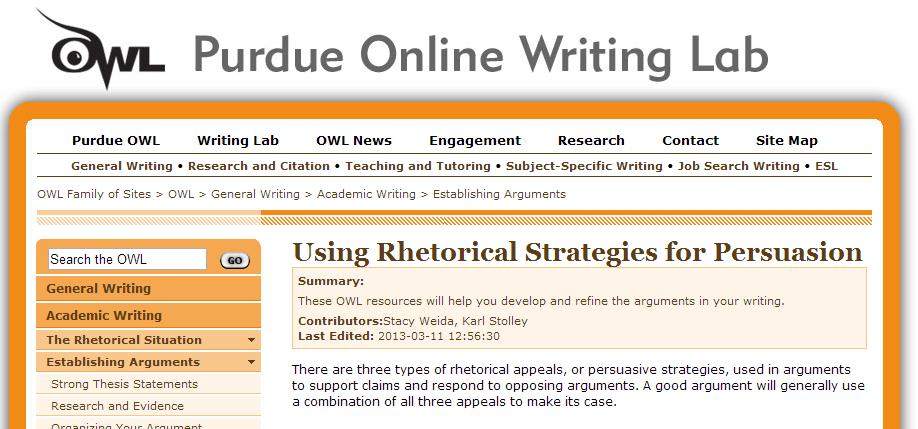 Purdue Owl Establishing Argument Writing Lab Teaching Info Rhetoric Persuasive Essay