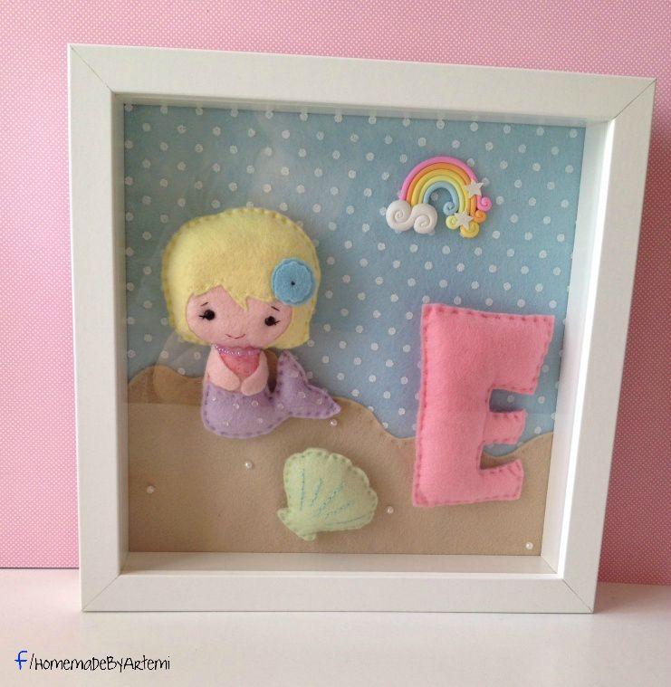 little felt mermaid frame | .my etsy shop..! | Pinterest | Mermaid
