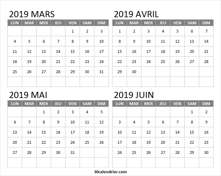 Calendrier Avril Mai Juin 2019.Tableau Calendrier Mars Avril Mai Juin 2019 Calendrier