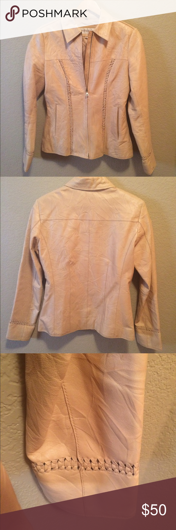 Beautiful Jones New York Leather Jacket, size S Gorgeous textured leather waist length full zip jacket. Look at last pic, very faint small spot on leather. You really have to look closely to find it. Fits as a true small Jones New York Jackets & Coats Blazers