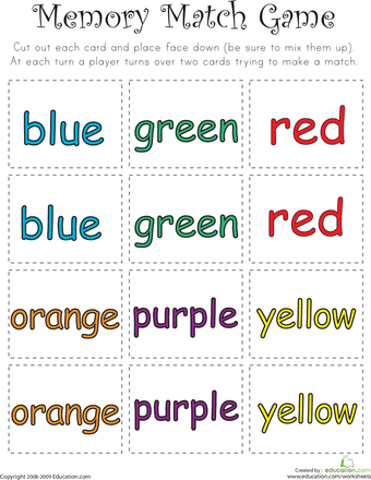 Color Word Memory Match | Language | Pinterest