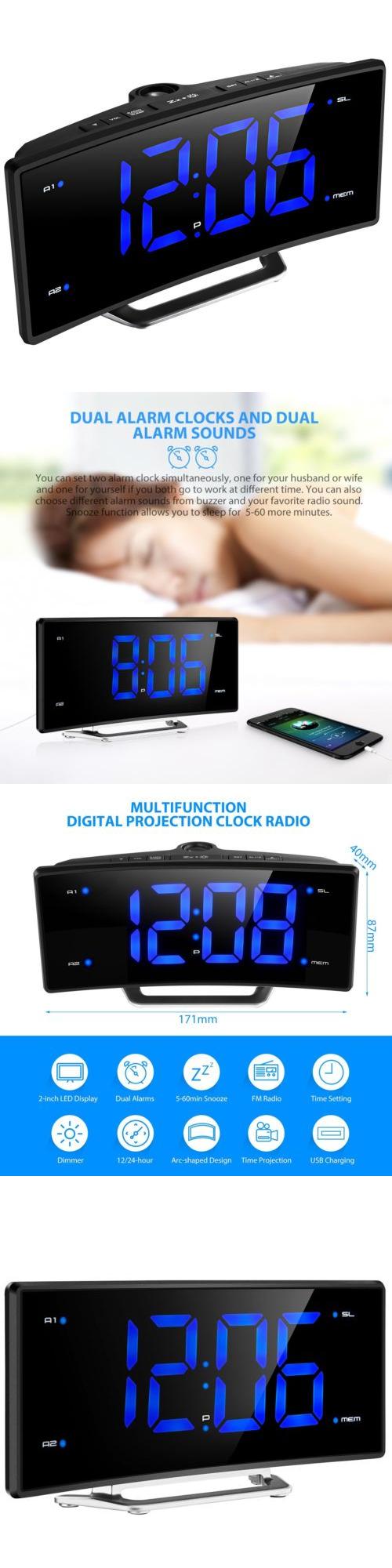 alarm clocks digital stylish curved jumbo led dual twin alarm clock projector fm radio